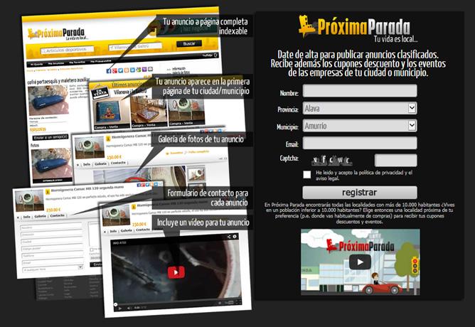 Landing page Próxima Parada