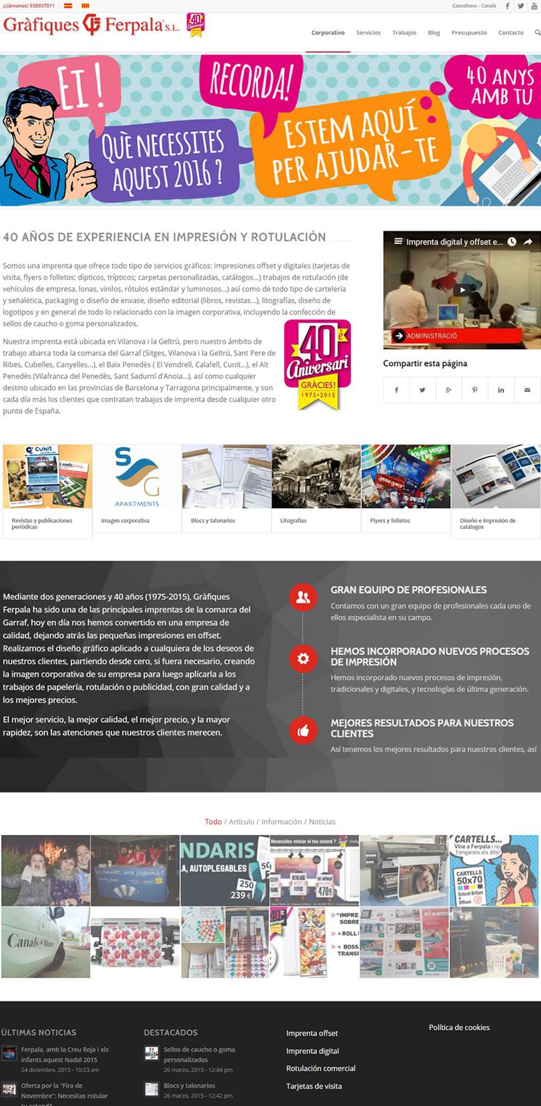 Diseño web autogestionable – Gráficas Ferpala