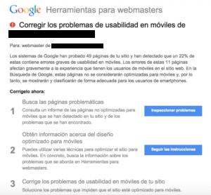 Aviso adaptabilidad a móviles de Herramientas para Webmasters